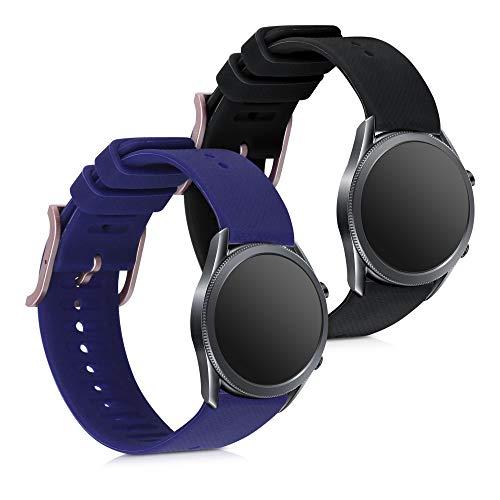kwmobile Armband kompatibel mit Samsung Galaxy Watch 3 (41mm) - 2X Silikon Fitnesstracker Sportarmband