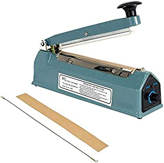 """ONECES 8"""" (200mm)Heat Sealing Impulse Manual Sealer Machine Poly Sealing Closer Kit Adjustable Time Portable with Free Replacement Element Grip and Teflon"""
