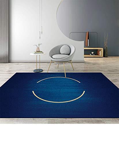 QiJi-Home Alfombra De Diseño Moderna Alfombra de Salón Sala Dormitorio Cuarto Juvenil geométrico Abstracto Azul Oscuro dorado-110X160CM (3ft8 x5ft3)