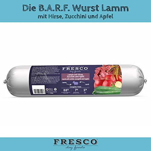 Fresco Dog Barf Wurst Complete-Menü Lamm mit Hirse, Zucchini und Apfel
