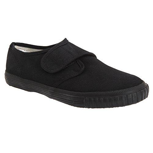 Dek Kids - Zapatillas unisex de tela negras de cierre adhesivo para...