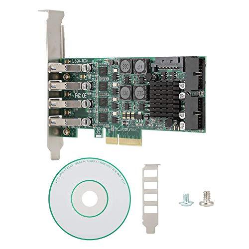 Bewinner PCI-E a 4 USB Puerto Tarjeta de Expansión,Tarjeta de Expansión de Puerto con Condensador,USB 3.0/USB 2.0 Tarjeta Adaptadora de Extensión PCI-E para Win XP/WIN7/WIN8/WIN8.1/WIN10