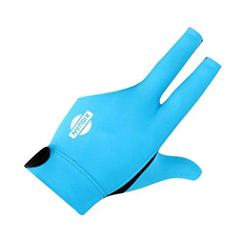 MagiDeal 3-Finger-Handschuhe Billard Snooker Queue Handschuhe für Linke Hand - Blau