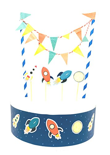 Linara Boutique Geburtstagstorten-Wimpelkette mit Raketen-Flagge