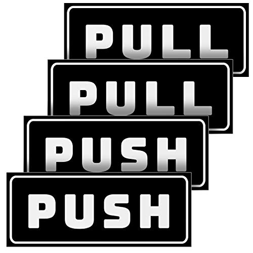 Push Pull Door Horizontal Stickers Sign  2 Pack 5x2 in, Back Self-Adhesive Black & White Vinyl Sticker for Business, Stores, Cafes, Shops & More. Indoor and Outdoor use.