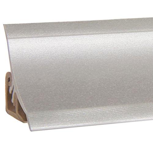 HOLZBRINK Copete para encimera de Cocina, Aluminio Plata, listón de Acabado PVC, listón de encimera 23x23 mm 150 cm