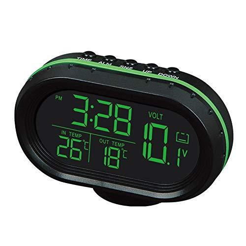 CVBN Voltímetro del Reloj de Temperatura del Coche Termómetro del Coche Reloj electrónico Luz Nocturna, Verde y Naranja