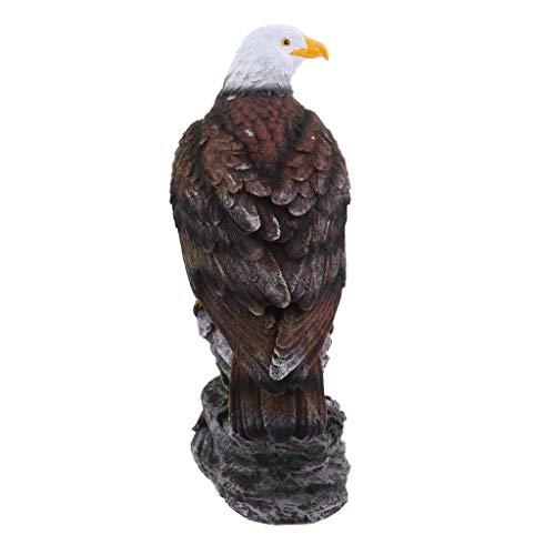 Tubayia Harz Adler Tierfigur Statue Kunsthandwerk Ornament für Haus, Garten, Rasen, Weg usw (Braun)