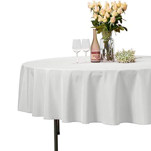 Veeyoo - Tovaglia rotonda o quadrata in diverse misure, colore a tinta unita, ottima per apparecchiare la tavola per matrimoni, ristoranti, eventi, Tessuto, Ivory, Rotondo-178 cm