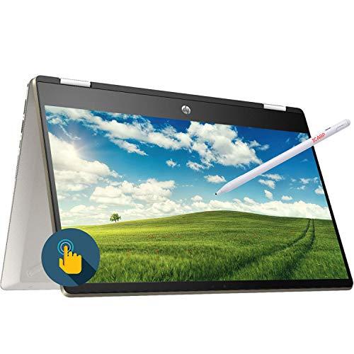 "HP Pavilion X360 14m 2-in-1 Convertible Laptop, 14"" FHD IPS Anti-Glare Touchscreen Intel Core i5-8265U 16GB RAM 128GB SSD Type-C Backlit KB Fingerprint Win 10 iCarp Active Pen -Gold"