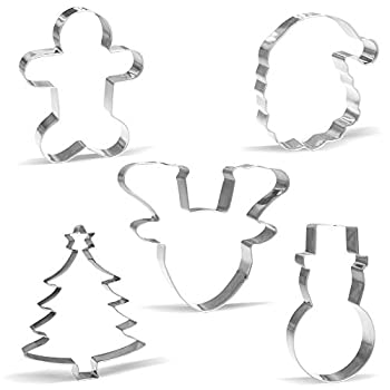 Giant Christmas Cookie Cutter Set - 5 Piece - Stainless Steel