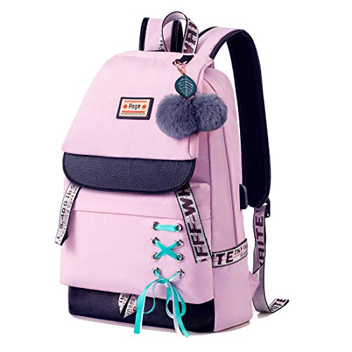 Asge Schulrucksack Mädchen Teenager Damen Rucksack Schule Mode Nylon Wasserdicht Schultasche Kawaii School Bags for Girl Druck Backpack Schule Bag Damen Daypack