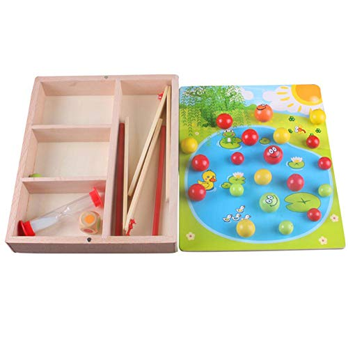 FOONEE Bambino Giocattoli educativi Beads, Timing Hourglass Clip Gioco in Legno, Centri attività Giocattolo interattivo per autismo Bambini per Bambini Regalo
