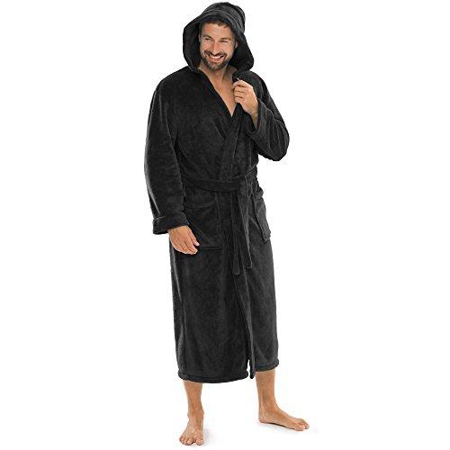 aqua-textil Bademantel Damen Malibu XS schwarz Saunamantel Herren Coral Fleece Morgenmantel mit Kapuze