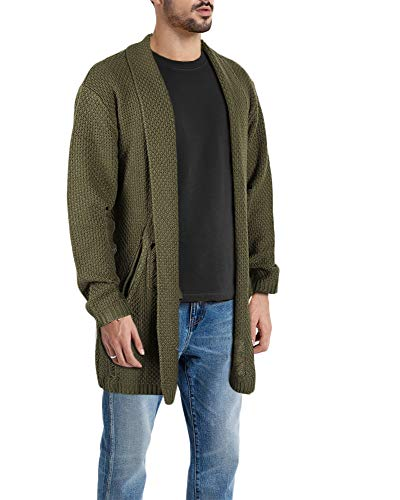 Taoliyuan Mens Stylish Cardigan Sweater Ripped Shawl Collar Winter Open Front Distressed Long Jacket Army Green