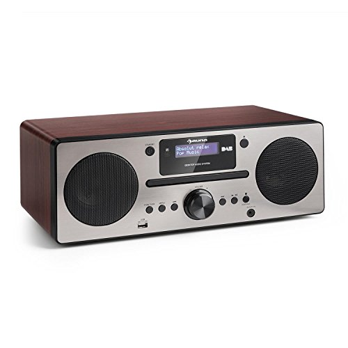 auna Harvard stereo compact systeem Special Edition, microsysteem met DAB/DAB + tuner, 2 x 10 W RMS, Bluetooth 3.0, USB, Bluetooth, AUX, RDS informatie, wekker, impedantie: 4 ohm, MDF, walnoot