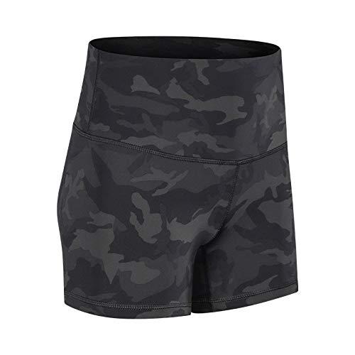 No-Branded WZGGZWGG Frauen Short Bund liegt flach Shorts Camouflage High Waist schweißableitenden Jogging Yoga Shorts (Color : Camouflage, Size : L)