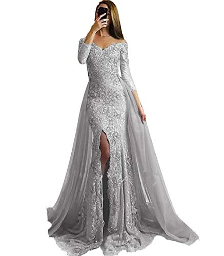 FTBY Womens Mermaid Prom Dresses Detachable Off Shoulder Slit Lace Beaded Long Sleeve Evening Gowns 2020 Silver-14