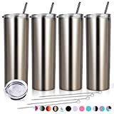 Zonegrace 4 Pack Classic Skinny Tumbler 20 oz Stainless Steel Double-Insulated Water Tumbler Cup With Lid and Straw Vacuum Travel Mug Gift for Men and Women With Silicone Bottom (4 gold)
