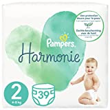 Pampers Couches Harmonie Taille 2 (4-8kg) 0% de compromis, 100% d'absorption, Ingrédients d'origine végétale, Hypoallergéniques, 117 Couches (Pack Familial)