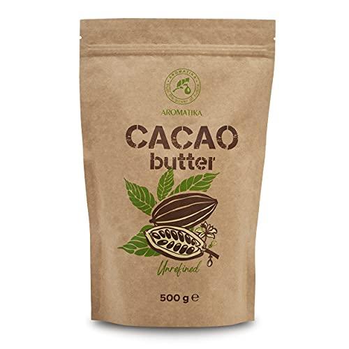 Burro di Cacao - 500g - Spremuto a Freddo - non Raffinato - Theobroma Cacao - per Uso Alimentare in Ricette Dolci, per Creme Fatte in Casa Corpo, Viso e Labbra