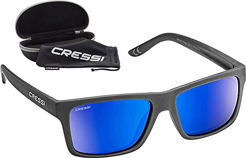 Cressi Bahia Flotantes Sunglasses Gafas De Sol Deportivo, Unisex adulto, Carbón/Azul Lentes espejados