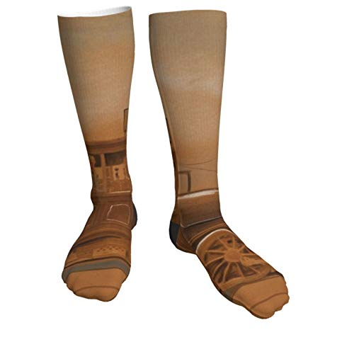 Compression Socks Women & Men Retro Steam Train and Railway Heel Thick Socks - Best for Running,Athletic Sports,Flight Travel, Pregnancy, Soccer
