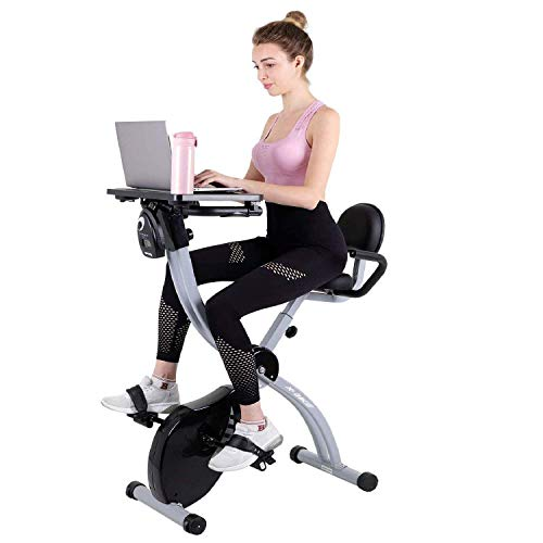 Exercise Bike Desk Station, Folding Workstation Stationary Bikes with LCD Monitor and Adjustable Seat for Home Office Use