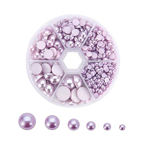 PandaHall Elite 690 Pcs 6 Sizes Flat Back Pearl Cabochons, 4/5/6/8/10/12mm DIY Half Pearl Bead for Jewelry DIY Craft Making Nail Decoration, Plum, Assorted