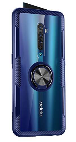 SORAKA Hülle für Oppo Reno2 mit 360 Grad drehbarem Ringständer Harter PC durchsichtiger Abdeckung+Silikon Rahmen transparente hülle mit Metallplatte für Handyhalterung Auto KFZ Magnet