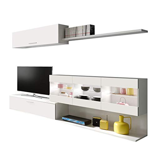 Habitdesign 036676BO - Mueble de Comedor, Mueble Salon con Leds, Medidas: 260 x 84 x 41 cm de Fondo (Blanco Brillo)