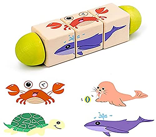 ZZMX Montessori Rotating Wooden Puzzle Building Blocks Toys, Animal Jigsaw Puzzle Educational Toys, Spinning Learning Toy for Pre-Kindergarten Boys and Girls Gift (Ocean)