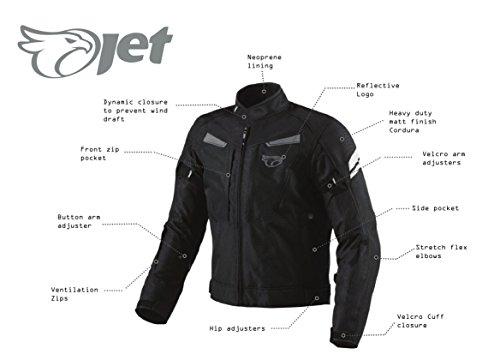 JET Motorradjacke Textil Wasserdicht Winddicht Mit Protektoren Multifunktional Schwarz - 3