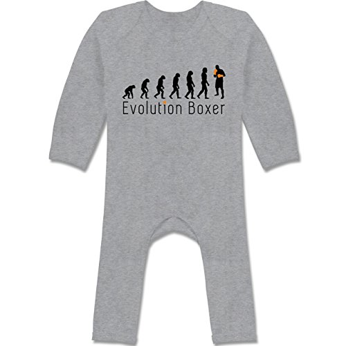 Shirtracer Evolution Baby - Boxer Evolution Schriftzug - 6/12 Monate - Grau meliert - Boxen - BZ13 - Baby-Body Langarm für Jungen und Mädchen