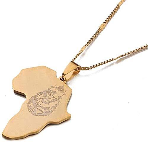 ZJJLWL Co.,ltd Collar África León Corazón Mapa Collar Color Dorado Mapa Africano para Hombres Mujeres Joyería