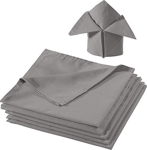 REDBEST Serviette, Stoffserviette 6er-Pack Seattle, 100% Baumwolle - Robustes, glattes Gewebe, mit Kuvertsaum, grau Größe 50x50 cm (weitere Farben)