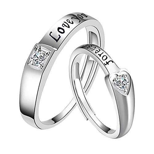 MomTop Couple Silver Ring for Women Men Open Rings Set Knot Adjustable Finger Ring Joint Crystal Ring Jewelry Gifts for Women Girls Anniversary Wedding Valentine's Day