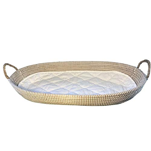 Linen Perch Baby Changing Basket with Quilted Liner | CPSC Safety Compliant | Tablescape Centerpiece Basket | Trendy Eco-Friendly Handwoven Seagrass | Large Seagrass Basket | (32' x 16')