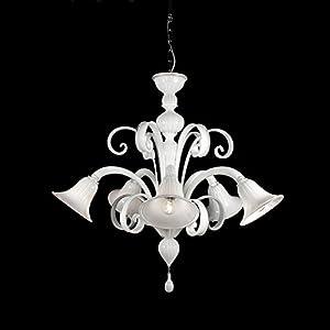 Tintoretto - Lámpara de techo de cristal de Murano con 5 luces blancas