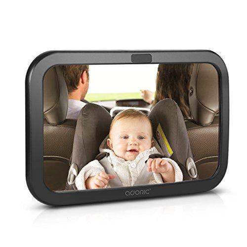 Rücksitzspiegel für Babys, Autospiegel Baby Autositz Sicherheit für Kinder in Kinderschale Babyschale, Kindersitz, Babysitz universeller Passform, doppelriemen mit 360° schwenkbar, Größe: 30 x 19 CM