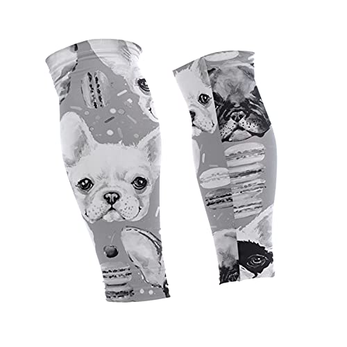 Oyihfvs French Bulldog Donuts Seamless 1 Pair Long Cooling Leg Knee Sleeve, Non Slip Warmer Uv Brace Compression Support Cover for Running Basketball Football Cycling
