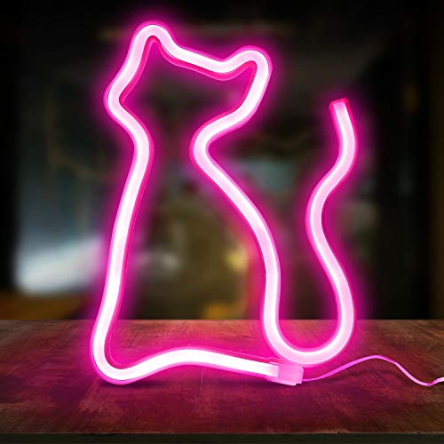 COOBONS Cat Neon Signs, LED Neon Signs for Wall Decor, Led Safety Art Wall Decoration Lights Neon Lights Night Table Lamp with Battery Powered/USB for Baby Room, Home, Best Gift for Children …