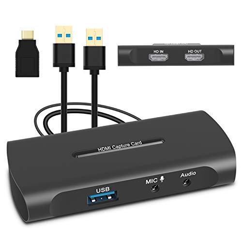 Scheda di Acquisizione Video HDMI, Game Capture Card con microfono-in HD 60fps Bassa Latenza Video Grabber per Registrazione Video, Ddiretta Streaming, Videoconferenza, Condivisione Dello Schermo