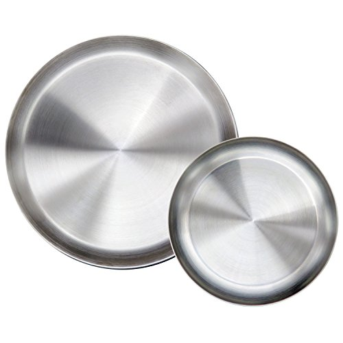 Immokaz Matte Polished 9.0 inch 304 Stainless Steel Round Plates Dish Set, for Dinner Plate, Camping Outdoor Plate, Baby safe, Toddler, Kids, BPA Free, Pack of 2 (M)