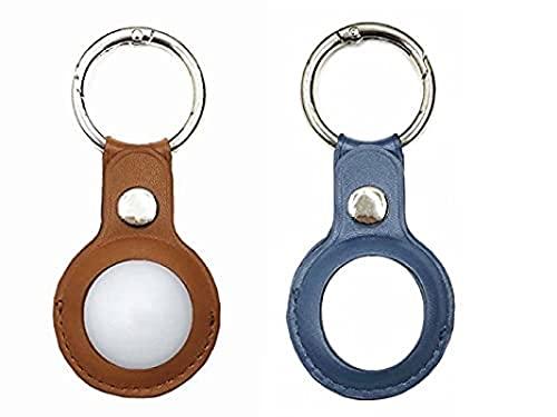Paquete de 2 fundas de piel para etiquetas de aire, antiarañazos, ligera, suave, portátil, compatible con AirTags Case Cover – para llaves/forro/bolsas/mochilas/hombres/mujeres (marrón y azul)