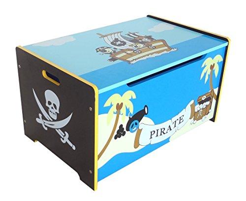 Kiddi Style Piraten Schatztruhe, Kinder Truhe & stylische Spielzeugtruhe für Kinderspielzeug & zur Spielzeugaufbewahrung – Sitztruhe, Schatzkiste, Spielzeugbox & Spielkiste für Spielsachen