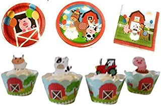Down on the Farm Baby Animals Birthday party supplies kit- Large dinner plates, dessert party plates luncheon napkins. cupcake rings and toppers  for 20  (106 pieces)