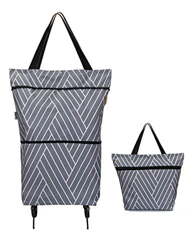 Reusable Grocery Bags with Wheels Foldable Collapsible Trolley Bag Large Capacity Grocery Cart - Wear-resistant, Durable Wheels, Heavy Duty Sewing - for Shopping, Super Markets, Trips(Grey)