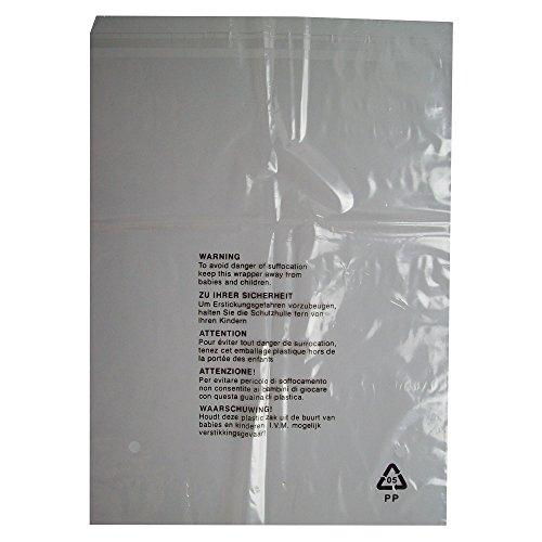 100 CLEAR TRANSPARENT PLASTIC SELF SEAL GARMENT CLOTHING RETAIL VERPAKKING BAGS VEILIGHEID WAARSCHUWING - GROTE MAAT 12x15