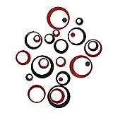 3D DIY Spiegel Wandaufkleber Wohnzimmer Schlafzimmer Badezimmer Hintergr& Wanddekoration Aufkleber Packung mit 24 Stück (schwarz & rot)